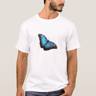 White T-Shirt with blue butterfly