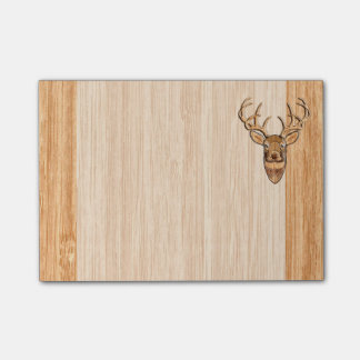 White Tail Buck Deer Head Wood Grain Style Post-it Notes