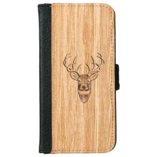 White Tail Deer Head Blond Wood Grain Style iPhone 6 Wallet Case