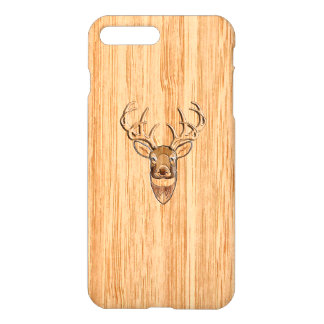 White Tail Deer Head Blond Wood Grain Style iPhone 7 Plus Case