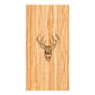 White Tail Deer Head Wood Grain Background Customised Photo Card