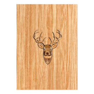 White Tail Deer Head Wood Grain Background Pack Of Chubby Business Cards