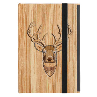 White Tail Deer Head Wood Grain Style Cover For iPad Mini