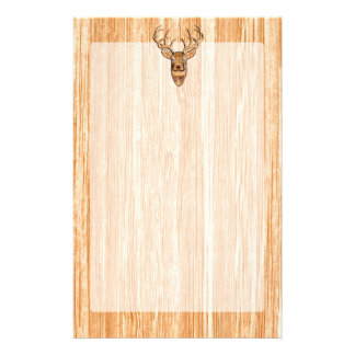 White Tail Deer Head Wood Inlay Grain Style Decor Stationery