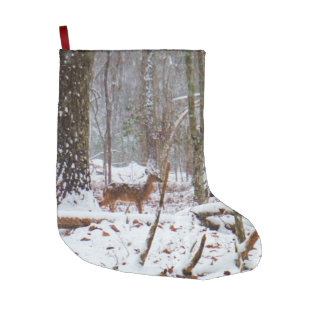 White Tail deer in Snow Large Christmas Stocking