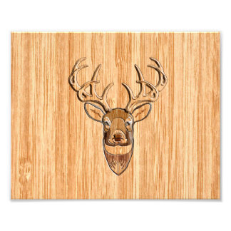 White Tail Deer Wood Grain Style Graphic Photograph