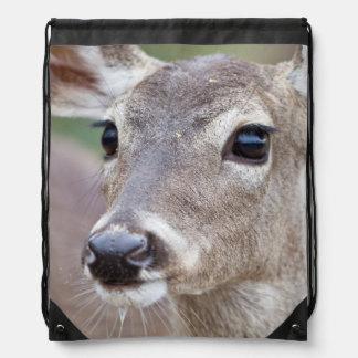 White-tailed Deer doe drinking water Drawstring Backpack