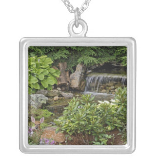 White-tailed deer fawn hiding in backyard silver plated necklace
