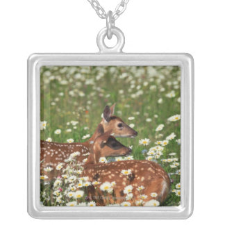 White-tailed deer fawns silver plated necklace