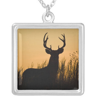white-tailed deer Odocoileus virginianus) Silver Plated Necklace
