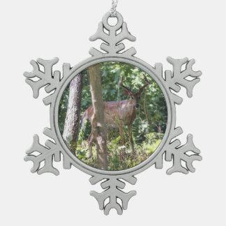 White-tailed Deer Pewter Snowflake Decoration