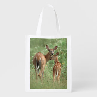 White-tailed Deer With her Spotted Fawn Reusable Grocery Bag