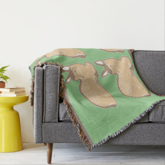 White-Tailed Fawns Green Throw Blanket