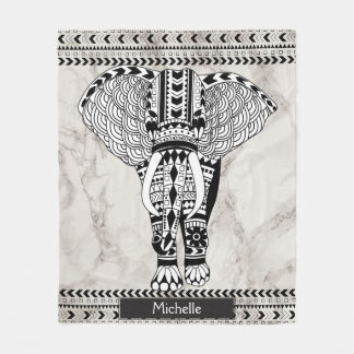 White & Taupe Marble Tribal Patterned Elephant Fleece Blanket