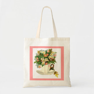 White Teacup with Flowers Tote Canvas Bags