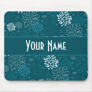 White Teal and Blue Floral Mouse Pad