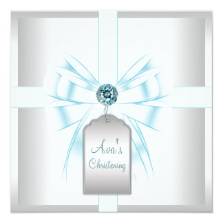 White Teal Blue Baby Baptism Christening Card