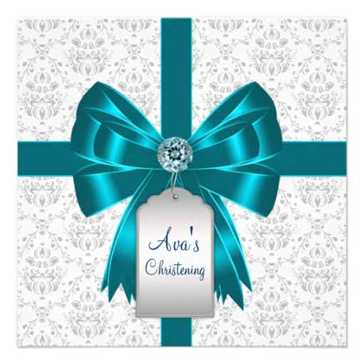 White Teal Blue Damask Baby Christening Personalized Invitation
