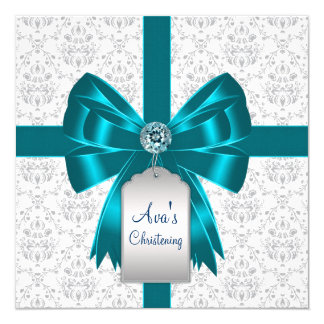 "White Teal Blue Damask Baby Christening 5.25"" Square Invitation Card"