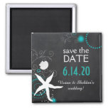 White Teal Chalkboard Beach Wedding Save the Date Square Magnet
