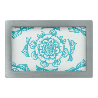 White & Teal Mandala Pattern Belt Buckles