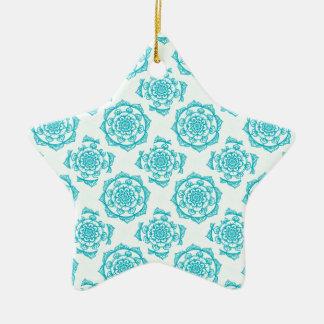 White & Teal Mandala Pattern Christmas Ornament