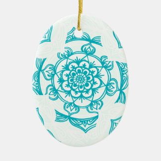 White & Teal Mandala Pattern Christmas Ornament