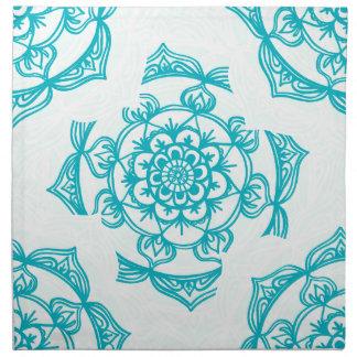 White & Teal Mandala Pattern Napkin