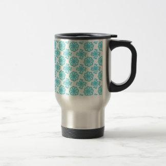 White & Teal Mandala Pattern Travel Mug