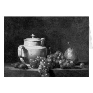 White Teapot with Two Chestnuts Greeting Card