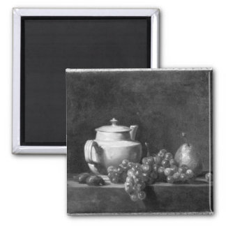 White Teapot with Two Chestnuts Square Magnet