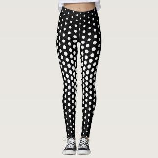 White Techno Dot Pattern Leggings