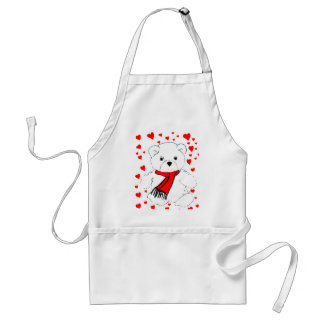 White Teddy Bear and Hearts Standard Apron