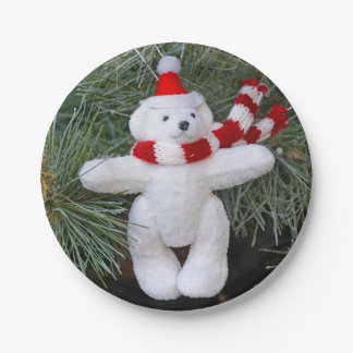 White teddy bear christmas 7 inch paper plate