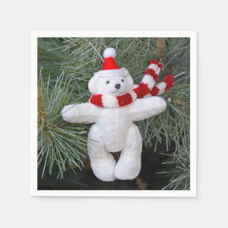 White teddy bear christmas disposable serviettes