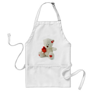 White Teddy bear holding a red heart Standard Apron