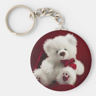 White Teddy bear Keychain