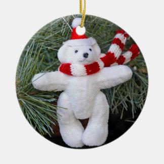 White teddy bear round ceramic decoration