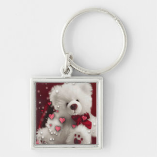 White Teddy Bear with red hearts square Keychain