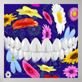 White Teeth Bite Flower Spin Dentist Poster