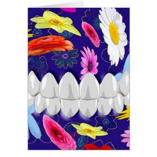 White Teeth Smile Flower Spin Dentist Card