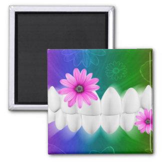 White Teeth Smile Pink Flower Dentist Magnet