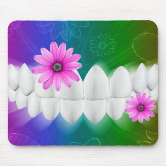White Teeth Smile Pink Flower Dentist Mousepad