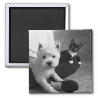White Terrier and Cat Share the Love Square Magnet