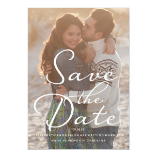 WHITE TEXT BEACH SAVE THE DATE Save the Date Card 13 Cm X 18 Cm Invitation Card