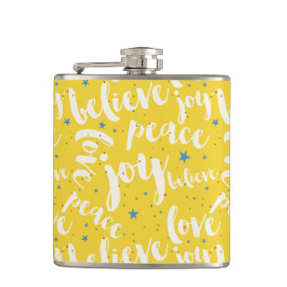 White Text Design Over Yellow Background Hip Flask