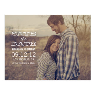 White Text Design Photo Save The Date Post Cards