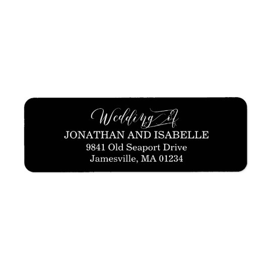 White Text on Black Wedding Return Address Labels
