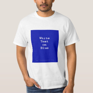 White Text on Blue T Shirt