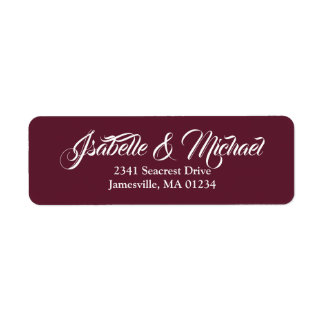 White Text on Burgundy Red Return Address Labels